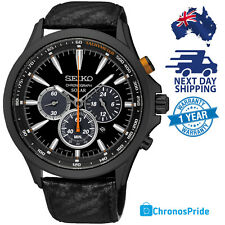 SEIKO Mens Solar Black Dial Chronograph Leather Buckle Strap SSC499 Watch NEW
