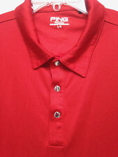 Men's Ping Dynamics Golf Solid Red Metal Snaps SS Polo Shirt Size L nice!