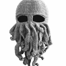 Tentacle Octopus Cthulhu Knit Beanie Hat Cap Winter Wind Ski Face Head Mask Grey