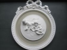SHABBY CHIC DECORTAVE FRENCH COUNTRY STYLE ORNATE CHERUBS  WALL PLAQUE/PLATE