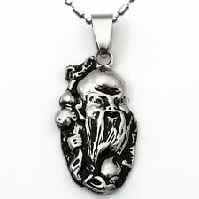 Carving Stainless Steel God of Longevity Amulet Pendant Necklace Birthday Gifts