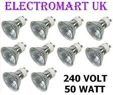 10 X GU10 240V VOLT 50W WATT HALOGEN LAMP BULB