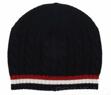 NEW MONCLER GAMME BLEU 100% CASHMERE NAVY BLUE WEB DETAIL BEANIE HAT ONE SIZE