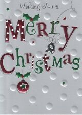 Wising You A Merry Christmas Card Embossed & Foiled Xmas Greeting Cards