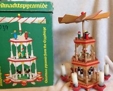 Vtg Christmas Pyramid Erzgebirge German 3 Tier 6 Candle Miner's Sheep Trumpet