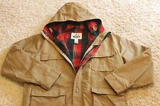"Vtg Woolrich ""60/40 Mountain"" Tan Plaid Wool Lined Parka Jacket Mens L Long Mint"