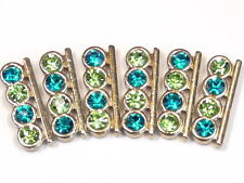 6 - 2 HOLE SLIDER BEADS PERIDOT GREEN TURQUOISE BLUE RHINESTONES GOLD TONE METAL
