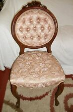 "37"" ANTIQUE WOOD VICTORIAN ROSE CARVED BALLON BACK PARLOR CHAIR Pink Tuffed Back"