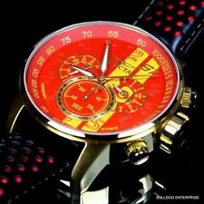 Men Invicta S1 Rally Racing Red Yellow Gold Plated Leather Chronograph Watch New