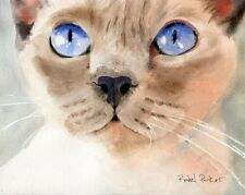 Original Siamese Cat Lilac Point Painting Watercolor Art applehead Tonkinese