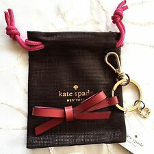 Kate Spade New York Leather Bow Key Fob/ Keychain Red and Pink