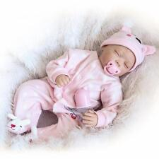 "22"" Reborn Baby Girl Doll Soft Vinyl Real Live Closed Eyes Rooted Hair"