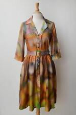 LEONA EDMISTON FROCKS Hazel Orange Multi Printed Cotton Shirt Dress w/ Belt 3/14