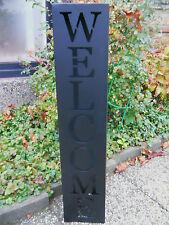 Metall Säule Welcome schwarz H.100cm verzinktes Blech Pflanzsäule Blumenständer