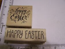 HAPPY EASTER GREETINGS FANCY FONT + DOTTED LETTERS  WM RUBBER STAMPS
