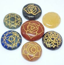 ENERGY CHARGED CRYSTAL REIKI 7 CHAKRA SET / ENGRAVED SANSKRIT PALM STONES GIFT