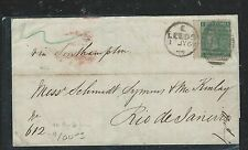 BRAZIL (P1906B) 1868 INCOMING QV GB 1/- COVER TO RIO, BACK STAMPED