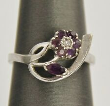 ESTATE Jewelry 14 KT WHITE GOLD AMETHYST & DIAMOND FLORAL COCKTAIL RING SIZE 6