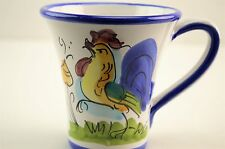 Vietri Galletto Rooster Chicken Hand Painted Italian Coffee Mug Cup 8 ounces