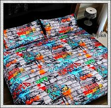 GRAFFITI Grey Orange Red Aqua Green * DOUBLE Quilt Doona Cover +2 Pillowcase Set