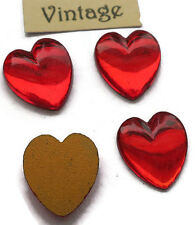 #843ES Vintage Hearts 11mm Cabochons Glass Red ruby Foil Rhinestone Heart NOS