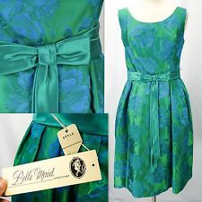 Nos Vtg 50s Deadstock Green Satin Blue Floral Embroidered Cocktail Party Dress S