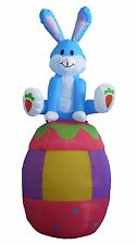 6 Foot Easter Inflatable Rabbit Bunny on Egg Yard Lawn Indoor Outdoor Decoration
