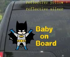 for/kids Baby Batman  BABY ON BOARD  Vinyl Car Decal Sticker / reflective yellow