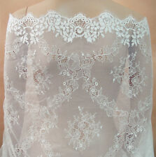 """White Chantilly Bridal Lace Fabric 39"""" Wide Bridal  Dress Accessories Veiling"""