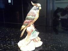 "Stunning figurine of parrot/bird/cockatiel, made in Italy, hand painted, 7"" tall"
