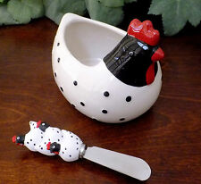 Ceramic Serving Dip Bowl Spreader Knife Set Rooster White Black Party 12oz NEW