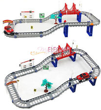 Motorized Racing Race Track & Car Set Children Boys Kids DIY Toys 55 pcs