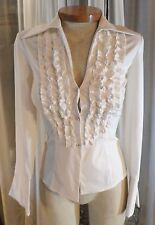NEW Lady 2 White Blouse Woman Crystals Buttons Flared Cuff XS Ruffles Long Sleev