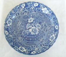 Antique Staffordshire Dark Blue White Transferware Bowl Gorgeous Urn of Flowers