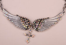 Angel wing cross choker necklace women biker jewelry silver AB crystal NC01