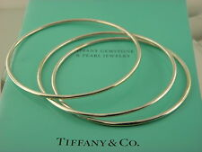 TIFFANY&CO SET OF 3 STERLING SILVER BANGLES BRACELETS.
