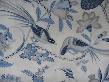 SCHUMACHER CURTAIN FABRIC Campagne 3 METRES BLEU & GRIS COUNTRY CHIC COLLECTION