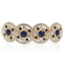 BB91 Elegant Blue S. Crystal Rhinestone CZ Gold Tone Alloy Barrette Hair Clip