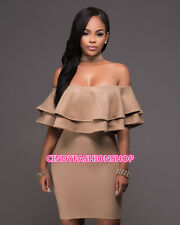 Women Sexy off shoulder backless zipper bodycon clubwear cocktail party dress