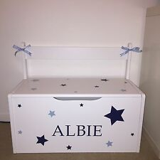 Personalised Handmade Children's Toy Box Storage chest Boys/Girls Seat Playroom