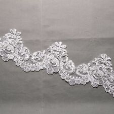 Bridal Wedding Off White Embroidered Lace Beaded Pearl Sequin Veil Trim Per Yard