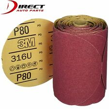 """3M 1116 Stick It Adhesive Back 6""""  80 Grit Disc Sandpaper 100 Sheets/Roll 01116"""