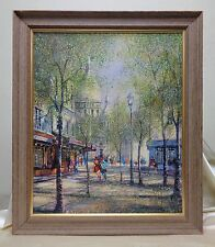 Vintage Estate Found SGD French Street Scene Oil Painting w Antique Wooden Frame