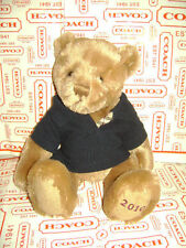 BURBERRY TEDDY BEAR 2010  BROWN TAN PLUSH STUFFED TOY BLUE POLO SHIRT CHECK 12""