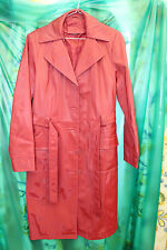 womans sexy rubbery feel swishey shiny Red PVC raincoat  belted  TV CD UK 12