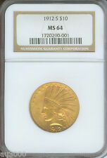 1912-S $10 Indian Ngc Ms64 Certified Ms-64 Scarce Date