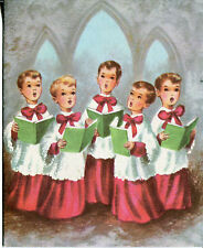 Vintage Christmas Card: Five Choirboys