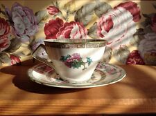 Antique Myott Staffordshire England cup and saucer green floral