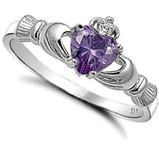 .925 Sterling Silver Ring size 6 CZ Claddagh Heart Kids Amethyst Midi Ladies New