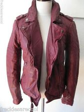 NWT MUUBAA NIDO RED OXBLOOD QUILTED LEATHER SKINNY BIKER JACKET US 8 M UK 12